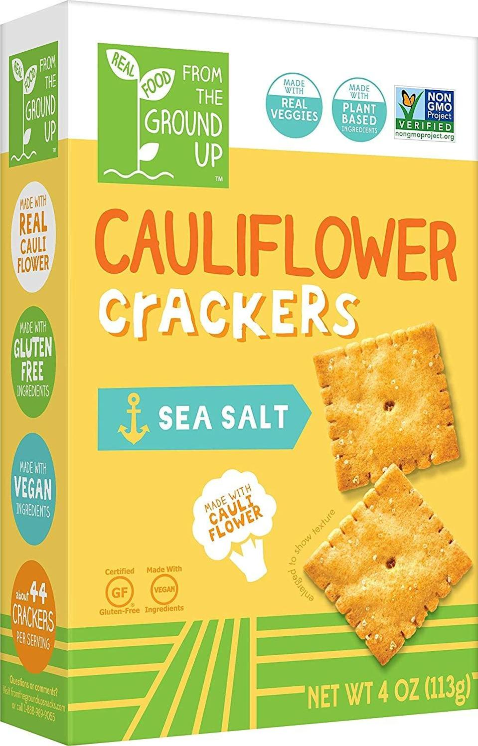 <p>Snack on some healthy crackers with these <span>Real Food From the Ground Up Cauliflower Crackers</span> ($23).</p>