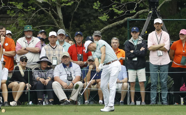 Justin Thomas hits a hole in one on the 16th hole during the final round for the Masters golf tournament Sunday, April 14, 2019, in Augusta, Ga. (AP Photo/Matt Slocum)