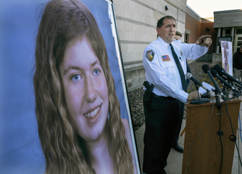 FILE - In this Oct. 17, 2018, file photo, Barron County Sheriff Chris Fitzgerald speaks during a news conference about 13-year-old Jayme Closs who has been missing since her parents were found dead in their home in Barron, Wis. Hormel Foods and Jennie-O say they'll donate the $25,000 it had offered in reward money for information leading to Jayme Closs directly to the 13-year-old girl. Jayme was kidnapped from her home in Barron, Wisconsin, on Oct. 15 and both of her parents were killed. . She escaped 88 days later. Twenty-one -year-old Jake Patterson is charged with kidnapping and homicide. (Jerry Holt/Star Tribune via AP, File)/Star Tribune via AP)