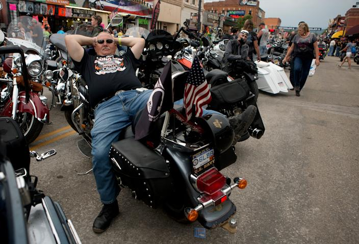 This year's event is drastically modified, but droves of bikers are already showing up.