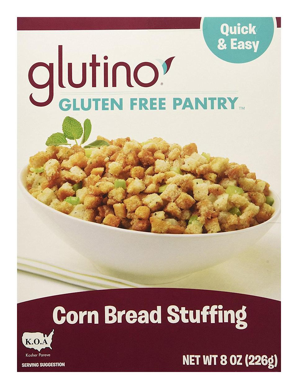 <p>From the gluten-free gods themselves comes Glutino's version of stuffing. With a cornbread base, the stuffing comes out ultra moist, making for a super warm and comforting side to accompany traditional wheat-based standards.</p>