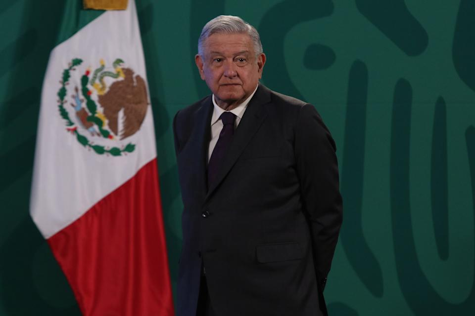 MEXICO CITY, MEXICO - FEBRUARY 18, 2021: Mexico's President Andres Manuel Lopez Obrador speaks during a press conference at National Palace; after Northern Mexico experienced blackouts for a  as several power plants faced natural gas supply failures from Texas, where a  freeze has  left millions of users without lights on February 18, 2021 in Mexico City, Mexico- PHOTOGRAPH BY Ismael Rosas / Eyepix Group/ Barcroft Studios / Future Publishing (Photo credit should read Ismael Rosas/ Eyepix Group/Barcroft Media via Getty Images)