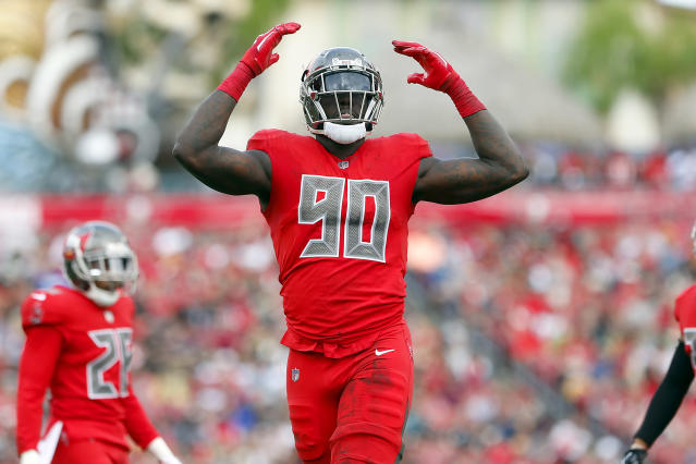 Jason Pierre-Paul declined to have surgery after a car crash left him with a fractured vertebra in his neck in May. (Cliff Welch/Getty Images)