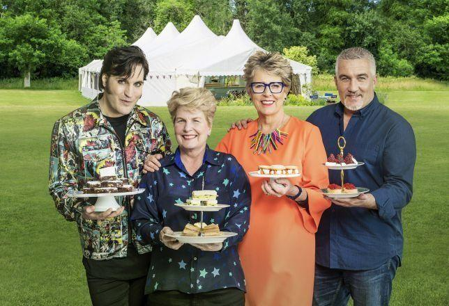 Bake Off judges Prue Leith and Paul Hollywood, with host Noel Fielding and former presenter Sandi Toksvig (Photo: Channel 4)