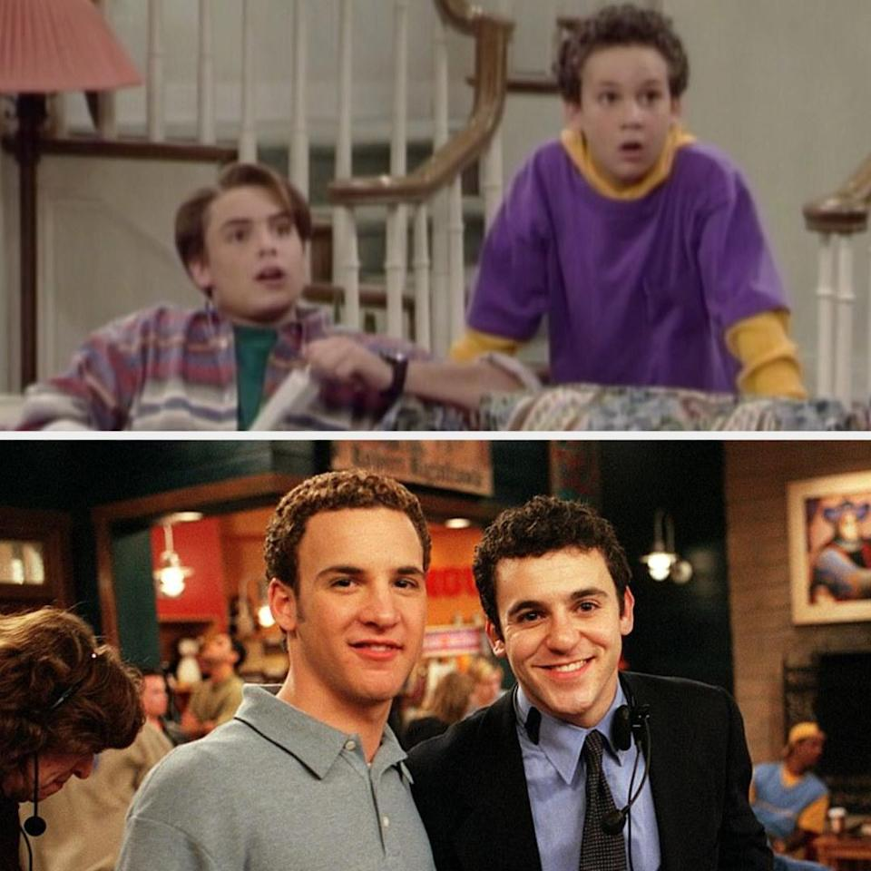 Above, Cory is standing near Eric who is on the couch. Below, Ben Savage is with his brother on set
