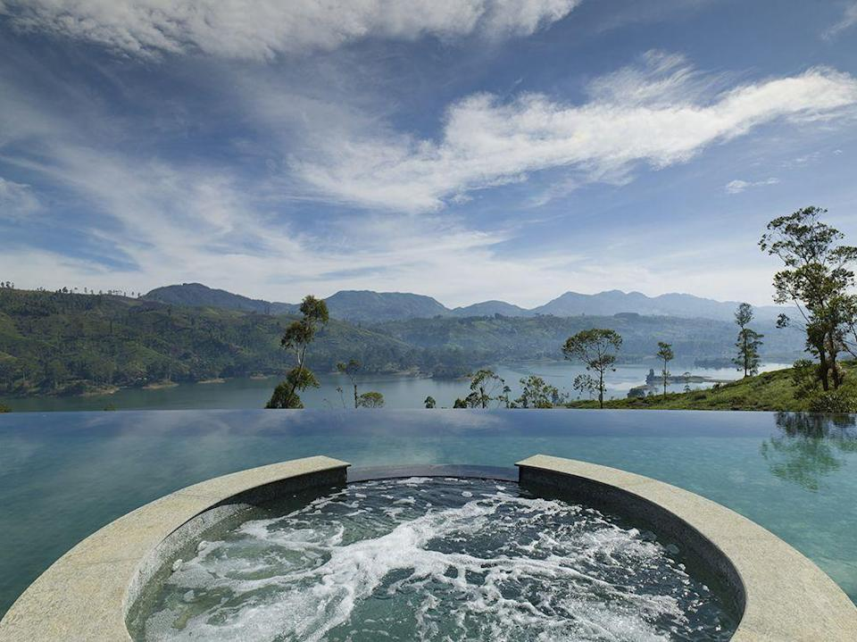 """<p>A Jacuzzi, in an <a href=""""https://www.resplendentceylon.com/teatrails/"""" rel=""""nofollow noopener"""" target=""""_blank"""" data-ylk=""""slk:infinity pool"""" class=""""link rapid-noclick-resp"""">infinity pool</a>, overlooking the peaceful hills of Sri Lanka's Ceylon tea region and Castlereagh Lake. Do holiday experiences get any better than this? Doubtful.</p>"""
