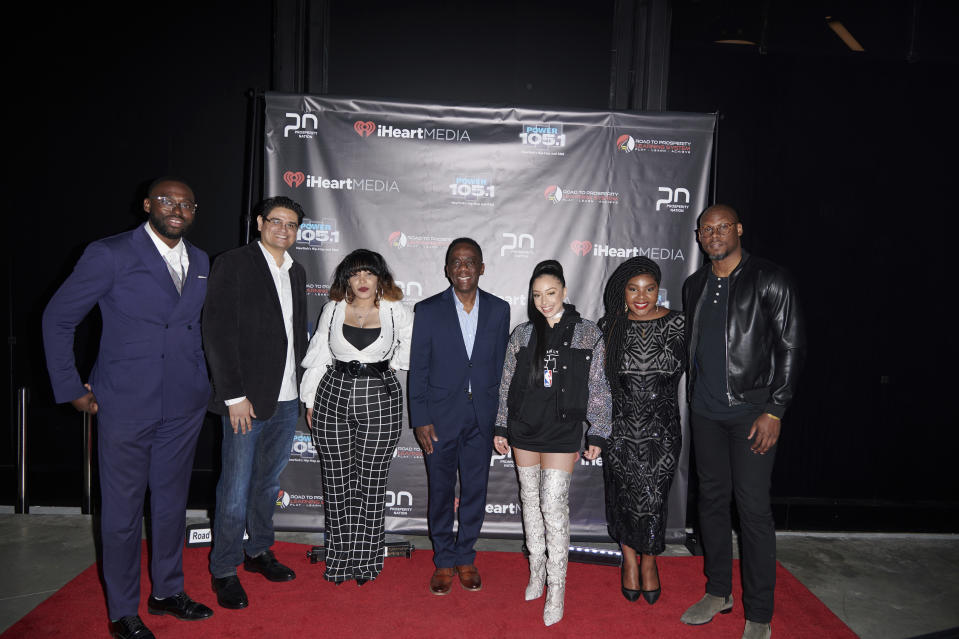 IMAGE DISTRIBUTED FOR PROSPERITY NATION - Jeff Lindor (Gentleman's Factory), Geoffrey Guerrero (Katra Film Festival), Pilar Scratch (Fashion Gxd Magazine), D. Alexis Samuels, Founder of Prosperity Nation, Host Ivy Rivera, Danielle Skeen (Microsoft), and Jason Rosario (The Lives of Men) at the Prosperity Nation Millenials Expo at BKLYN Studios on Saturday, April 20, 2019 in New York. (Loren Wohl/AP Images for Prosperity Nation)