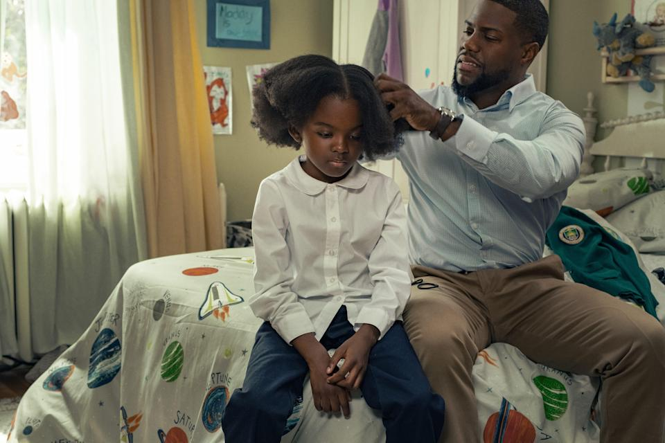 """Kevin Hart stars as a single dad who has to raise his daughter (Melody Hurd) following his wife's unexpected death in """"Fatherhood."""""""