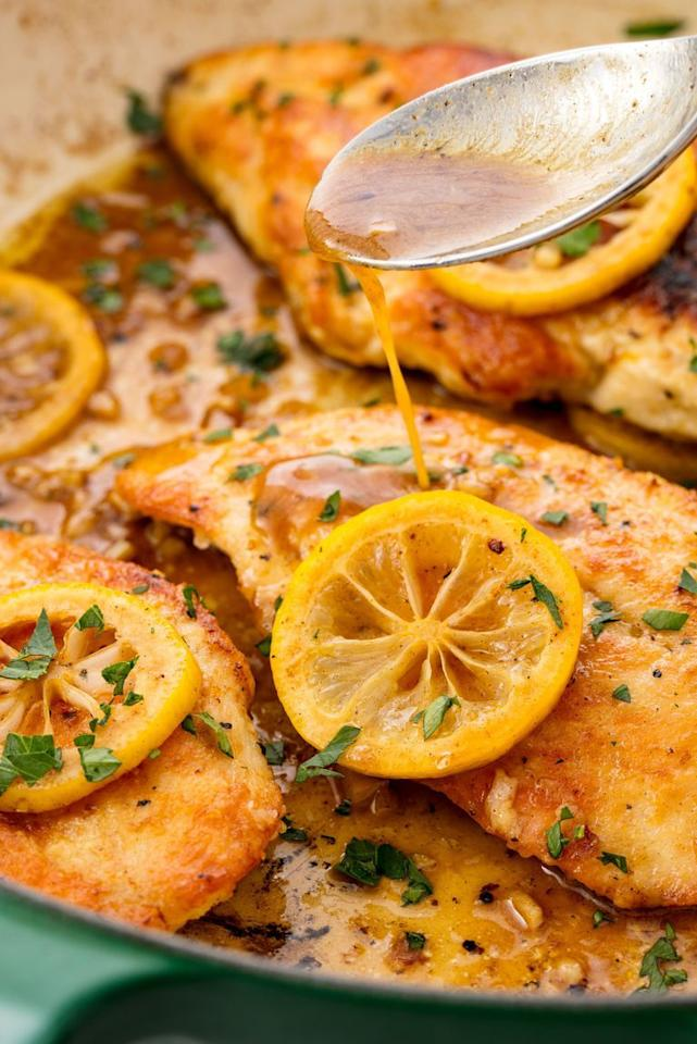 """<p>Fresh lemons are the easiest way to add bright and bold flavor to chicken breasts. In this recipe, you're using the zest and the juice for the seasoning and the sauce. </p><p>Get the recipe from <a href=""""https://www.delish.com/cooking/recipe-ideas/recipes/a55218/lemon-pepper-baked-chicken-breast-recipe/"""" target=""""_blank"""">Delish</a>. </p>"""