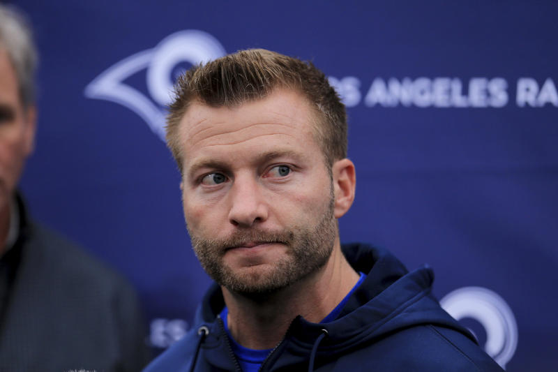 Sean McVay has been talking with his players about racial discrimination. (AP Photo/Leila Coker)