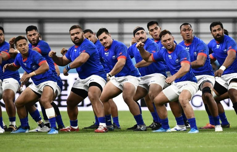 Paul Alo-Emile (2R) made the last of his 17 Samoa Tests appearances at the 2019 Rugby World Cup