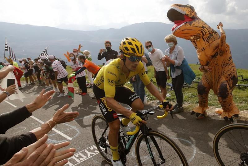 Slovenia's Primoz Roglic wearing the overall leader's yellow jersey, climbs the Loze pass during stage 17 of between Grenoble and Meribel Col de la Loze.