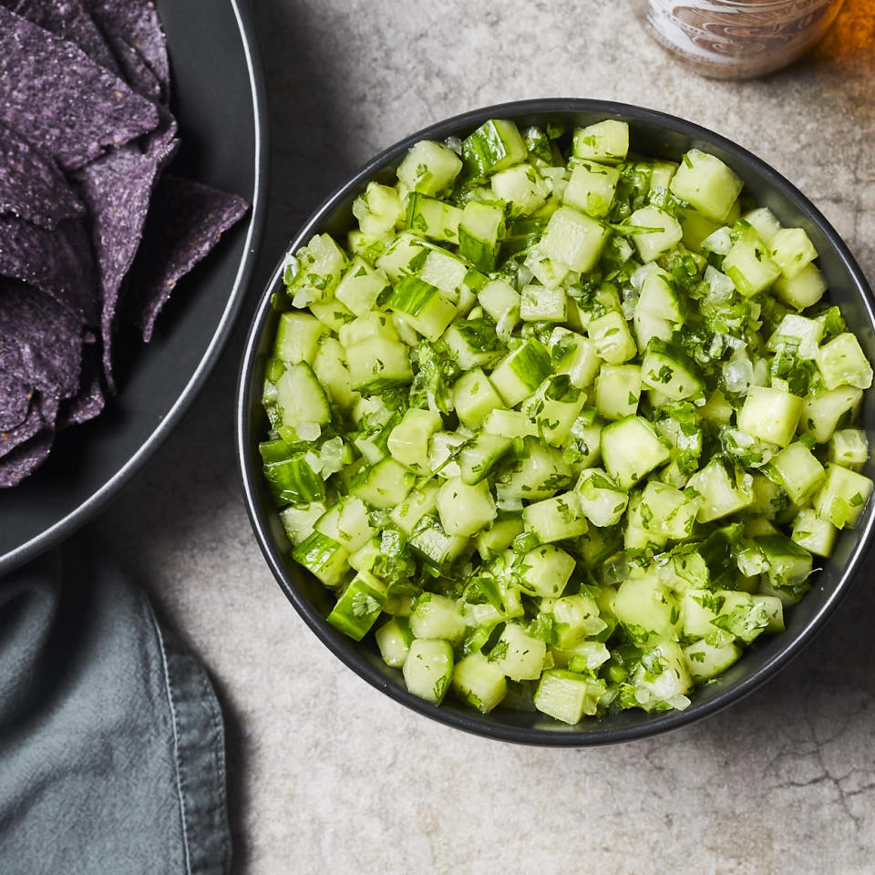 "<p>This fresh, tangy cucumber salsa is perfect for grilled fish or on its own as a simple side salad. Well balanced and easy to make, the flavor mellows and the cucumber softens as this sits, so it can easily be made a day or two ahead of time--or enjoy it right away, fresh and crisp. <a href=""http://www.eatingwell.com/recipe/280090/cucumber-salsa/"" rel=""nofollow noopener"" target=""_blank"" data-ylk=""slk:View recipe"" class=""link rapid-noclick-resp""> View recipe </a></p>"
