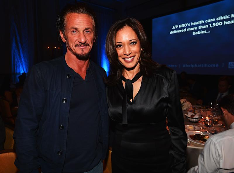 LOS ANGELES, CA - JANUARY 12: Sean Penn and Attorney General of California Kamala Harris attend the 2nd Annual Sean Penn and Friends Help Haiti Home Gala benefiting J/P HRO presented by Giorgio Armani at Montage Hotel on January 12, 2013 in Los Angeles, California. (Photo by Alberto E. Rodriguez/Getty Images for J/P HRO)