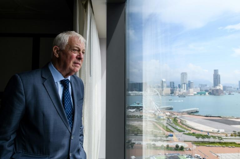 Hong Kong's former British colonial governor Chris Patten poses during an interview with AFP at the harbourside Mandarin Oriental hotel in Hong Kong on September 21, 2017
