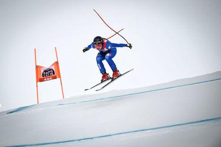 Alpine Skiing - FIS Alpine Skiing World Cup - Women's Downhill - Are, Sweden - March 14, 2018. Sofia Goggia of Italy in action during her race. Pontus Lundahl/TT News Agency via Reuters