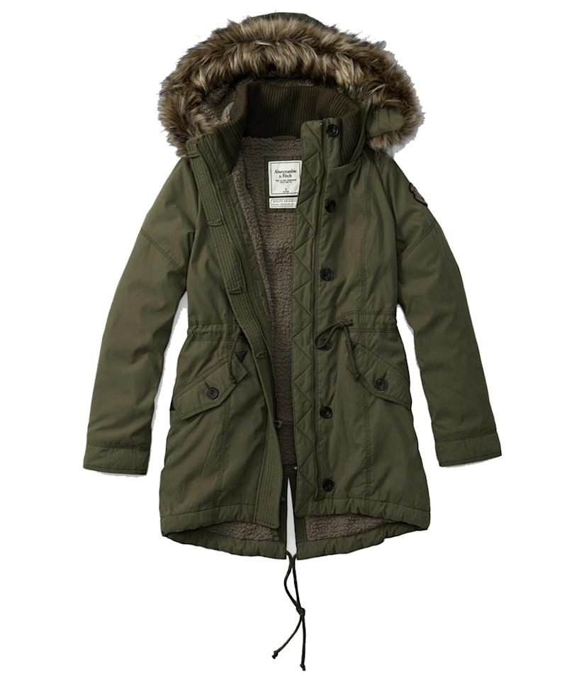 """<p>Sale: Take 50 percent off the entire store and sitewide.<br />When: Nov. 25<br />Where: in-store & online<br />Sherpa-Lined Military Parka, $120, <a rel=""""nofollow"""" href="""" https://www.abercrombie.com/shop/us/womens-new-arrivals/sherpa-lined-military-parka-8053119_02?ofp=true"""">abercrombie.com</a> </p>"""