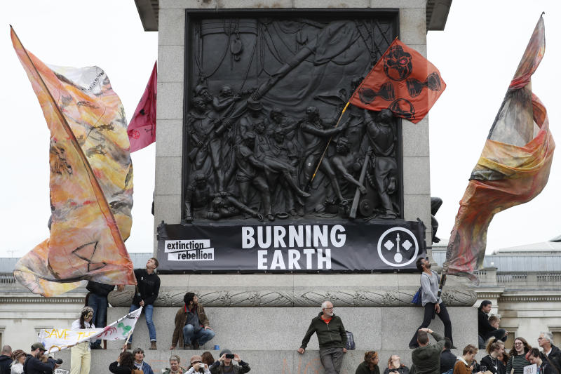 Climate protestors occupy Trafalgar Square in central London Monday, Oct. 7, 2019. (Photo: Alastair Grant/AP