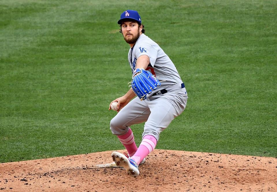 Dodgers pitcher Trevor Bauer delivers against the Angels in the second inning of Sunday's 2-1 loss.