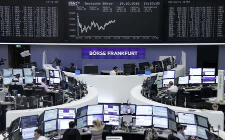 Traders work at their desks in front of the German share price index, DAX board, at the stock exchange in Frankfurt, Germany, October 19, 2016. REUTERS/Staff/Remote