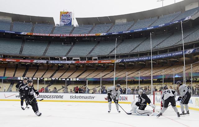 Los Angeles Kings practice for the NHL Stadium Series hockey game Friday, Jan. 24, 2014, in Los Angeles. The Kings and the Anaheim Ducks will play outdoors at Dodger Stadium on Saturday. (AP Photo/Alex Gallardo)