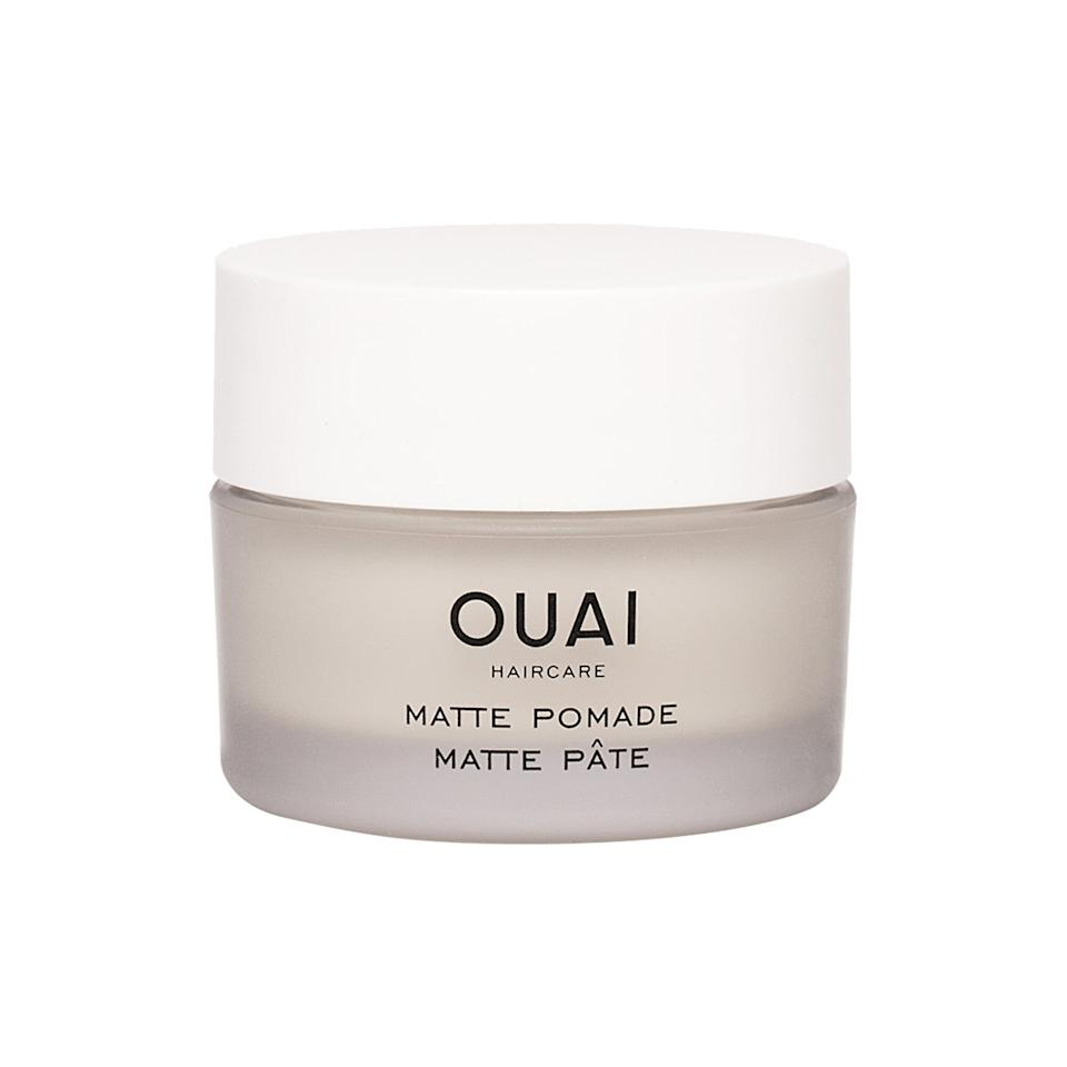 """<p>When I want that piecey, beach-wave-y look, I rub a dime-size amount of <a href=""""https://www.popsugar.com/buy/Ouai-Matte-Pomade-556520?p_name=Ouai%20Matte%20Pomade&retailer=sephora.com&pid=556520&price=24&evar1=bella%3Auk&evar9=47304367&evar98=https%3A%2F%2Fwww.popsugar.com%2Fbeauty%2Fphoto-gallery%2F47304367%2Fimage%2F47304401%2FOuai-Matte-Pomade&list1=shopping%2Chair%2Cbeauty%20products%2Chaircuts%2Chair%20products%2Cshort%20hair%2Cbeauty%20shopping%2Clob&prop13=api&pdata=1"""" rel=""""nofollow"""" data-shoppable-link=""""1"""" target=""""_blank"""" class=""""ga-track"""" data-ga-category=""""Related"""" data-ga-label=""""https://www.sephora.com/product/matte-pomade-P411727?icid2=products%20grid:p411727:product"""" data-ga-action=""""In-Line Links"""">Ouai Matte Pomade</a> ($24) in my hands and rake it through my curls. It creates texture and hold without any crunchiness.</p>"""
