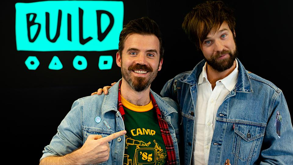 A photo of Paul Verhoeven with host Danny Clayton on Build Series Sydney.