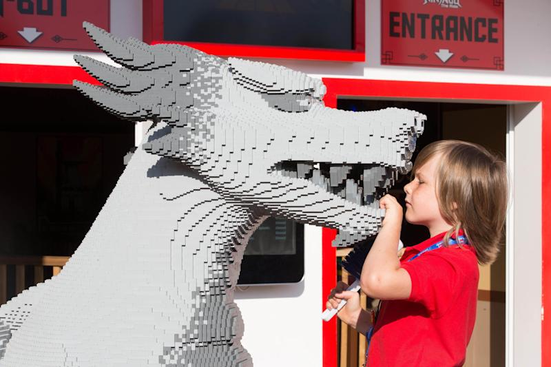"Stanley Bolland undertakes some work experience as a ""Lego Model Maker"" at the Legoland Windsor Resort in Berkshire.  (PA Images)"