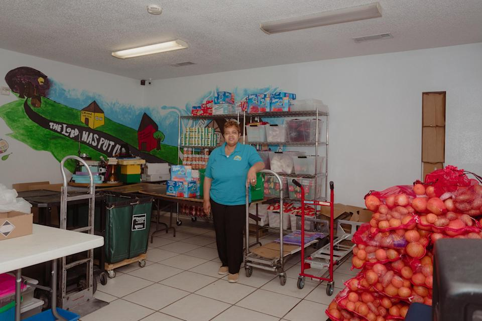 Sherri Mixon at the food pantry she manages in Dallas, on Feb. 13.