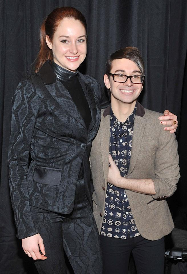 NEW YORK, NY - FEBRUARY 09:  Shailene Woodley and designer Christian Siriano attend Christian Siriano during Fall 2013 Mercedes-Benz Fashion Week at Eyebeam on February 9, 2013 in New York City.  (Photo by Henry S. Dziekan III/WireImage)