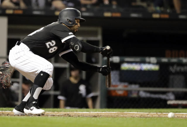 Chicago White Sox's Leury Garcia hits a sacrifice bunt against the Cleveland Indians during the fourth inning of a baseball game in Chicago, Friday, May 31, 2019. (AP Photo/Nam Y. Huh)