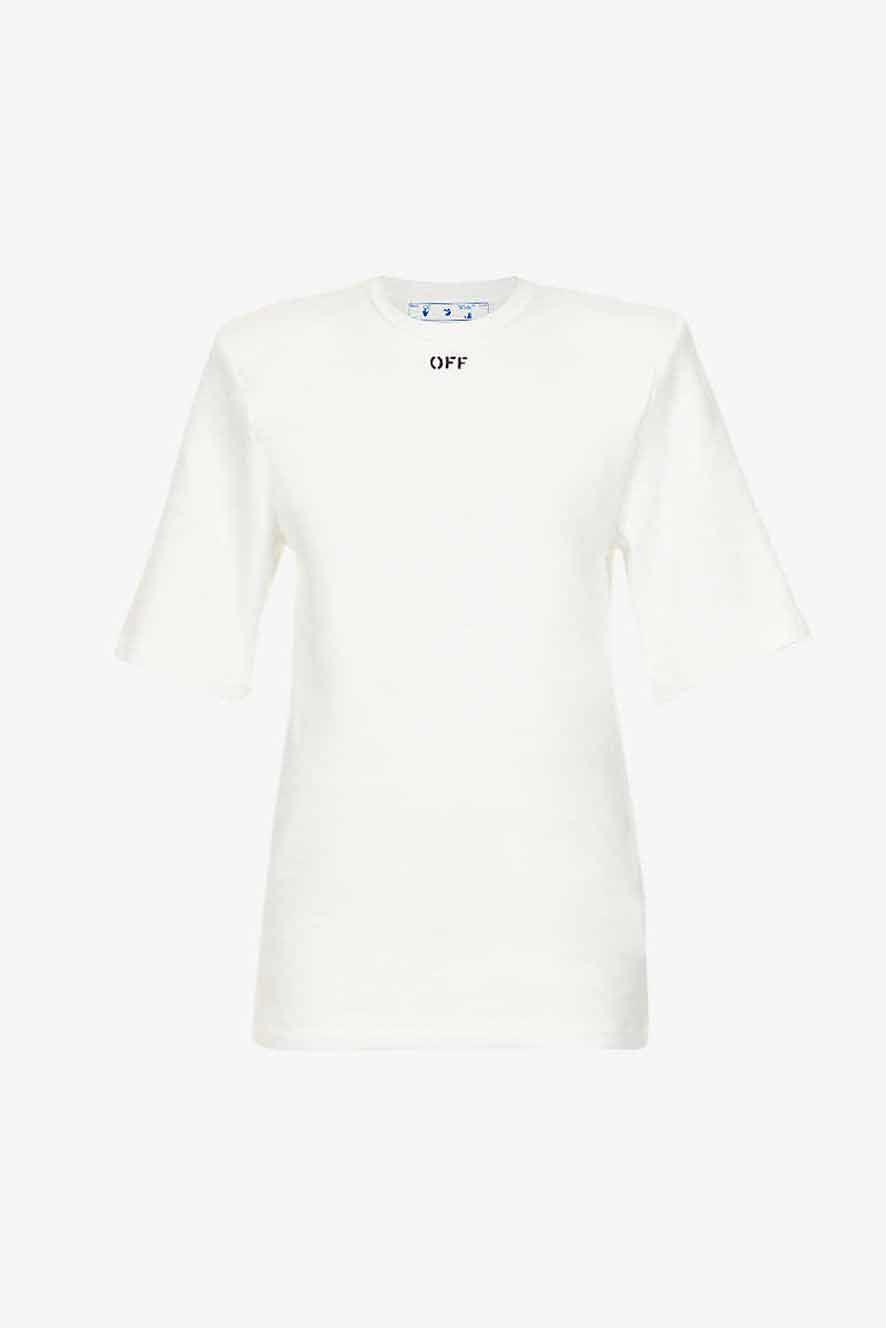 """<p><a class=""""link rapid-noclick-resp"""" href=""""https://go.redirectingat.com?id=127X1599956&url=https%3A%2F%2Fwww.selfridges.com%2FGB%2Fen%2Fcat%2Foff-white-co-virgil-abloh-logo-print-padded-shoulder-cotton-jersey-t-shirt_R03708962%2F%3FpreviewAttribute%3DWHITE%252FBLACK&sref=https%3A%2F%2Fwww.harpersbazaar.com%2Fuk%2Ffashion%2Fwhat-to-wear%2Fg27282427%2Fbest-white-t-shirt-women%2F"""" rel=""""nofollow noopener"""" target=""""_blank"""" data-ylk=""""slk:SHOP NOW"""">SHOP NOW</a></p><p>If you're looking for a white T-shirt with a hint of attitude, graphics are the way to go – and who better to trust with this than Virgil Abloh? The designer takes statement basics up a notch with the boxy cut, exaggerated shoulder pads and logo embroidery on this iteration.</p><p>Padded-shoulder T-shirt, £280, Off-White at Selfridges</p>"""