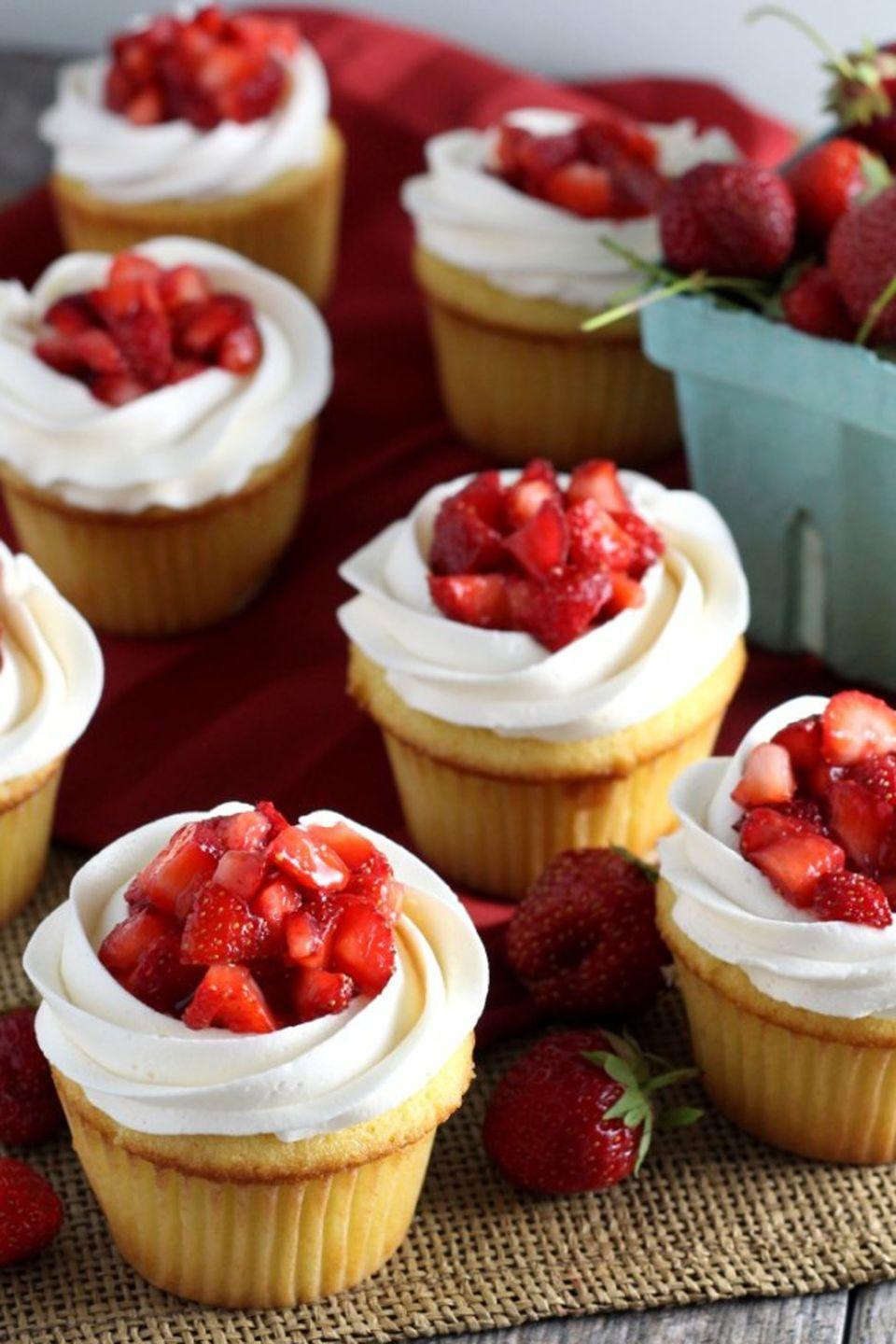 """<p>Strawberry shortcake is a springtime must-have. Avoid the mess of slicing cake by making individual cupcakes for your party guests. </p><p>Get the full recipe from <a href=""""http://chocolatewithgrace.com/strawberry-shortcake-cupcakes/"""" rel=""""nofollow noopener"""" target=""""_blank"""" data-ylk=""""slk:Chocolate with Grace"""" class=""""link rapid-noclick-resp"""">Chocolate with Grace</a>.</p>"""