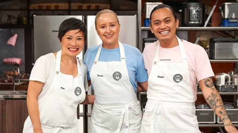 (L-R) Poh Ling Yeow, Tessa Boersma and Khanh Ong on MasterChef, Khanh reveals personal cheating pain in book. Photo: Ten