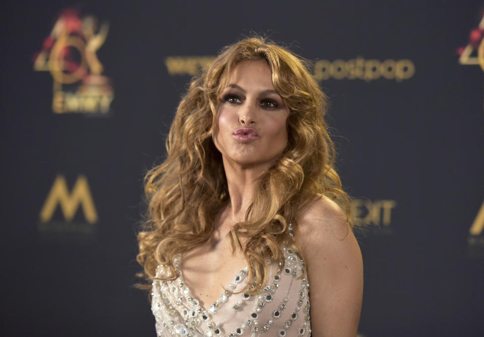 Paulina Rubio poses in the press room at the 46th annual Daytime Emmy Awards at the Pasadena Civic Center on Sunday, May 5, 2019, in Pasadena, Calif. (Photo by Richard Shotwell/Invision/AP)