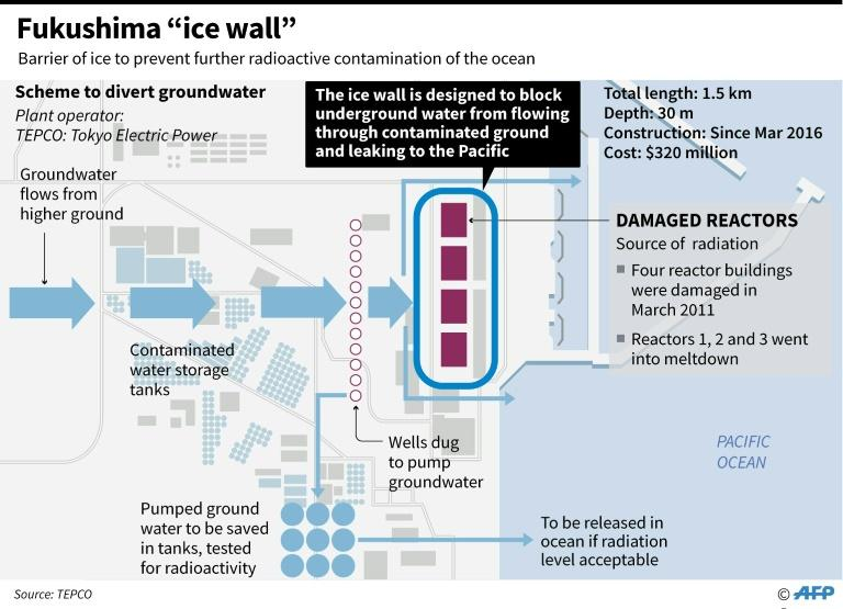Graphic outlining the ice-wall scheme to divert groundwater at Japan's crippled Fukushima nuclear plant to prevent radioactive contamination of sea water