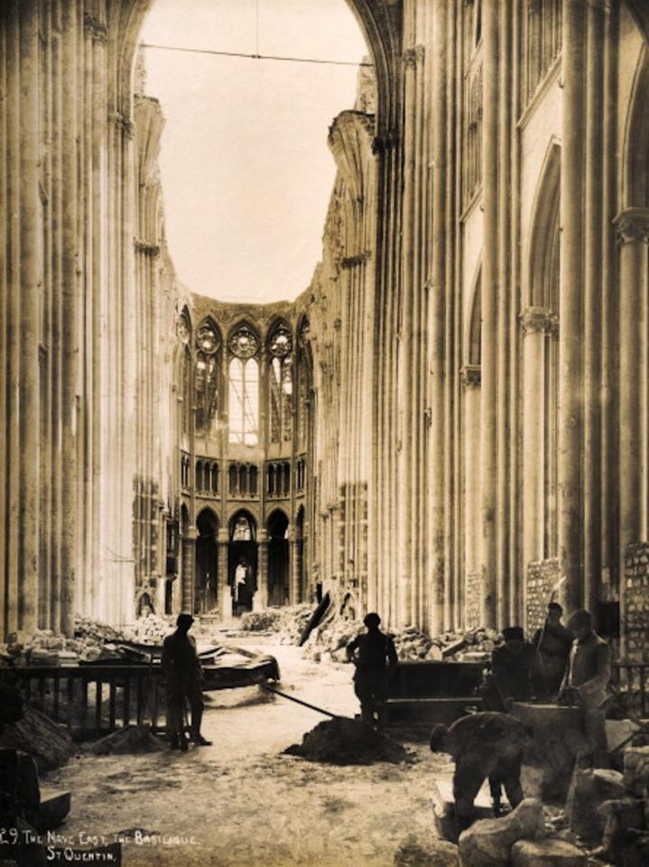 The East end of the Nave in the Basilique at Saint-Quentin in Northern France, photographed soon after the end of World War One, circa March 1919. This image is from a series documenting the damage and devastation that was caused to towns and villages along the Western Front in France and Belgium during the First World War. (Photo by Popperfoto/Getty Images)