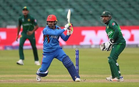 Rashid Khan played a big part in Afghanistan's three-wicket victory over Pakistan - Credit: PA