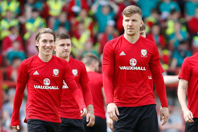 Soccer Football - Wales Training - The Racecourse, Wrexham, Britain - May 21, 2018 Wales' Harry Wilson and Lee Evans during training Action Images via Reuters/Craig Brough