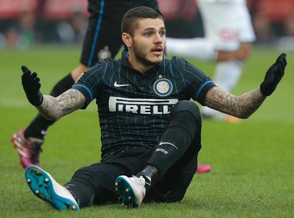 Inter Milan's Mauro Icardi, seen in action during an Italian Serie A match at San Siro stadium in Milan, in January 2015 (AFP Photo/Emilio Andreoli)