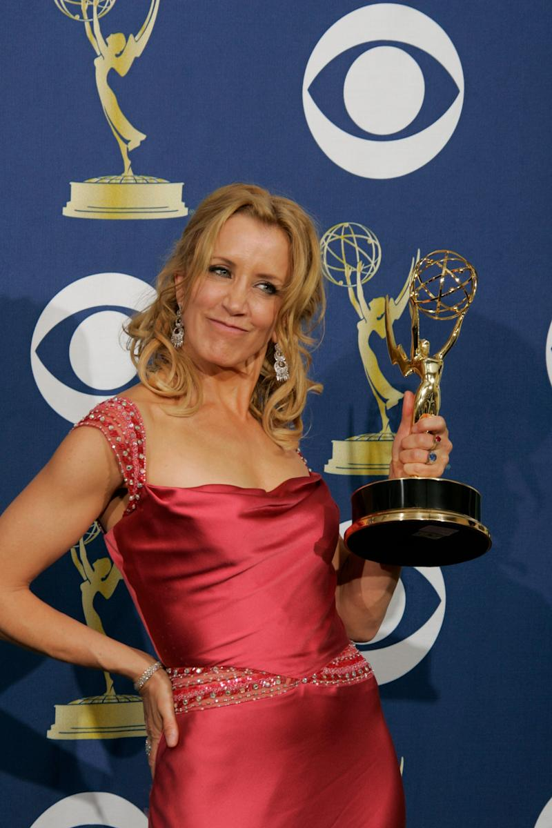 Felicity Huffman wins Outstanding Lead Actress in a Comedy Series at the 57th Annual Emmy Awards on Sept. 18, 2005.