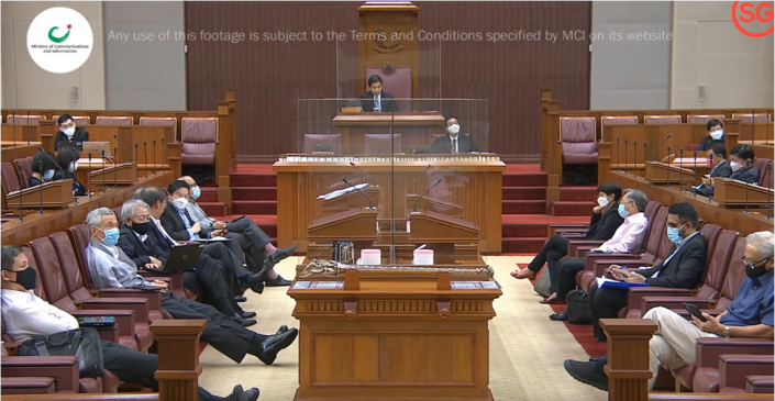 Indiscrete remarks, apparently about NCMP Leong Mun Wai, were overheard in Parliament on Tuesday, 14 September 2021. (SCREENGRAB: Ministry of Communications and Information)