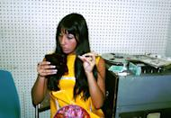 <p>Checking her makeup while recording at Gold Star Studio in Los Angeles. </p>