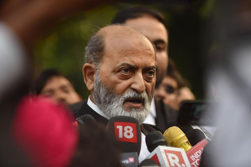 Zafaryab Jilani, lawyer for the Sunni Waqf Board, speaks to the media on 16 October in New Delhi.