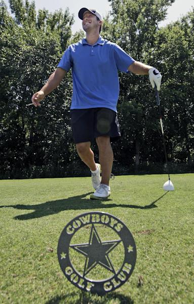 Dallas Cowboys NFL football quarterback Tony Romo smiles after a tee shot during the Dallas Cowboys Annual Sponsor Appreciation Golf Classic at the Cowboys Golf Club, Wednesday, May 9, 2012, in Grapevine, Texas. (AP Photo/LM Otero)