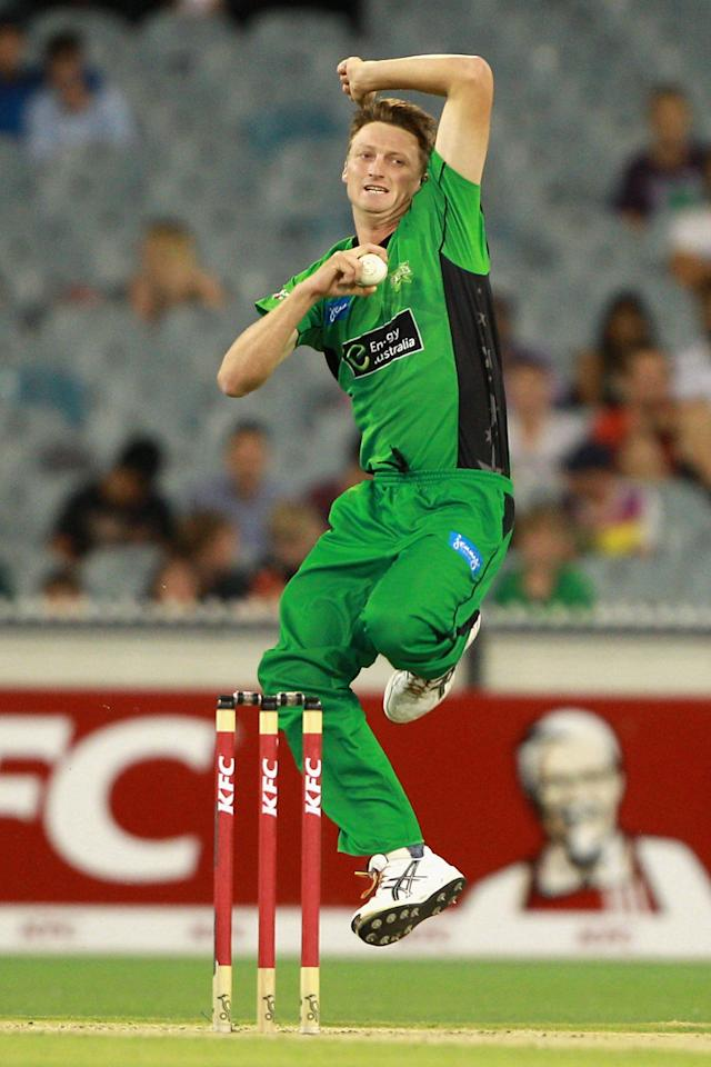 MELBOURNE, AUSTRALIA - JANUARY 08:  Jackson Bird of the Stars bowls during the Big Bash League match between the Melbourne Stars and the Sydney Thunder at Melbourne Cricket Ground on January 8, 2013 in Melbourne, Australia.  (Photo by Robert Prezioso/Getty Images)