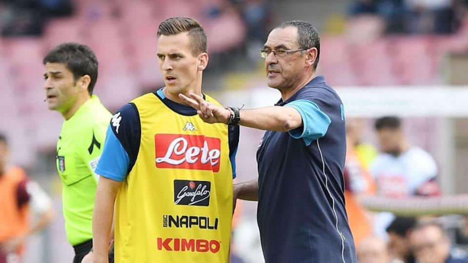 Milik e Sarri insieme al Napoli | Francesco Pecoraro/Getty Images