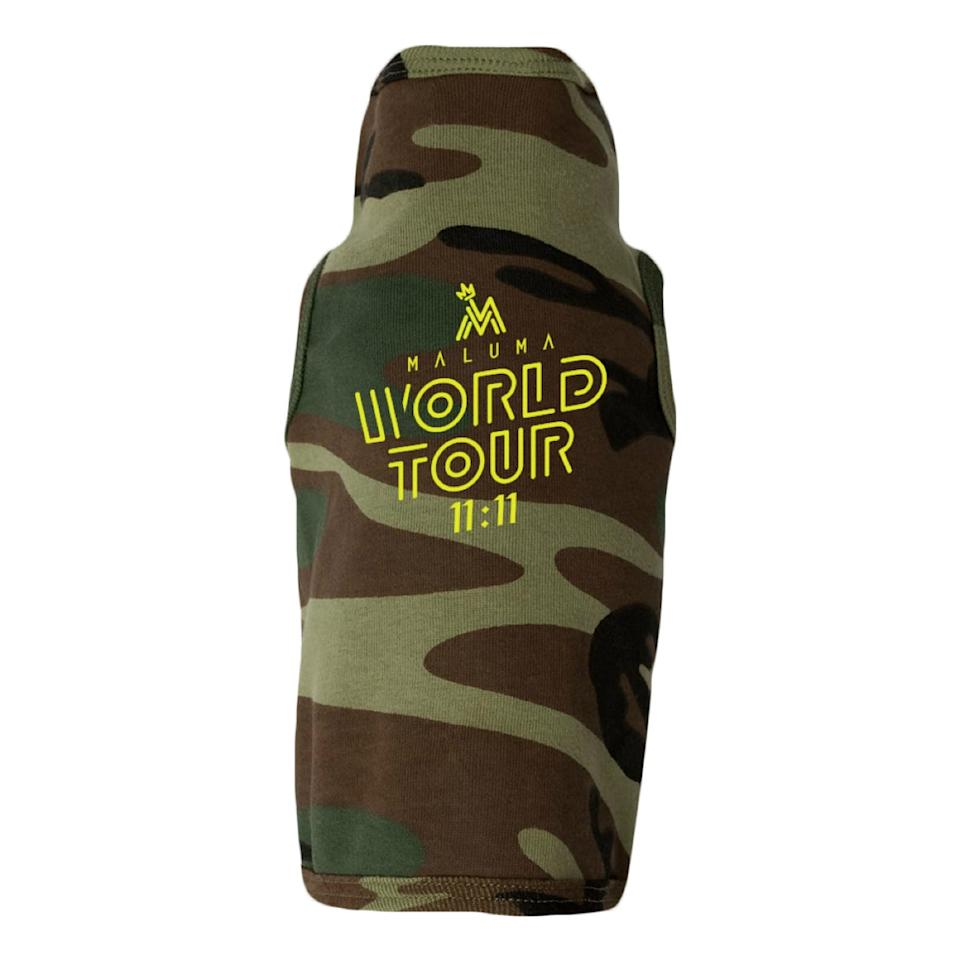 """<p>The <a href=""""https://www.popsugar.com/buy?url=https%3A%2F%2Fmaluma.shop.musictoday.com%2Fproduct%2FY4AMML001%2Fmaluma-camouflage-dog-hoodie%3Fcp%3Dnull%2520&p_name=Maluma%20Camouflage%20Dog%20Hoodie&retailer=maluma.shop.musictoday.com&price=30&evar1=pop%3Auk&evar9=46866424&evar98=https%3A%2F%2Fwww.popsugar.com%2Fcelebrity%2Fphoto-gallery%2F46866424%2Fimage%2F46867213%2FMaluma-Camouflage-Dog-Hoodie&prop13=api&pdata=1"""" rel=""""nofollow"""" data-shoppable-link=""""1"""" target=""""_blank"""" class=""""ga-track"""" data-ga-category=""""Related"""" data-ga-label=""""https://maluma.shop.musictoday.com/product/Y4AMML001/maluma-camouflage-dog-hoodie?cp=null """" data-ga-action=""""In-Line Links"""">Maluma Camouflage Dog Hoodie</a> ($30) is perfect for all the furry fans out there.</p>"""
