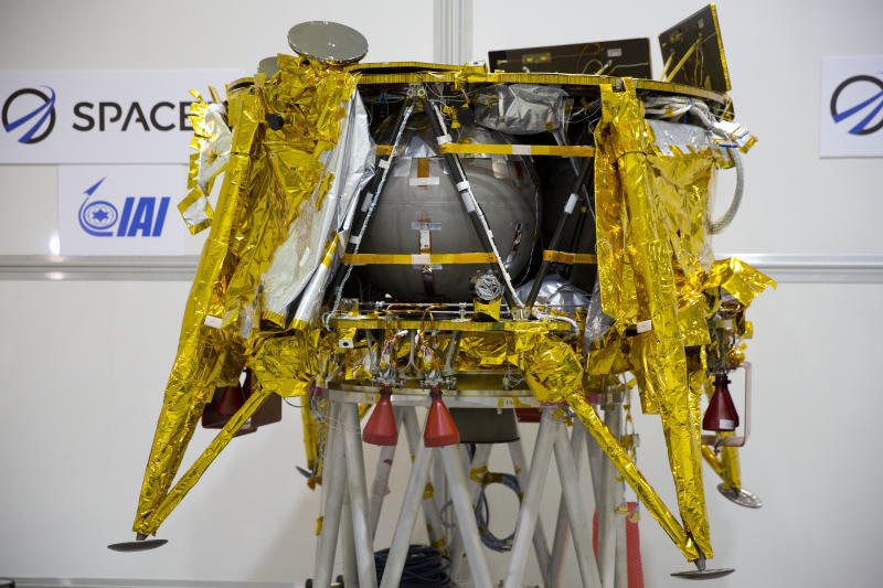 "The SpaceIL lunar module, an unmanned spacecraft, is on display in a special ""clean room"" where the space craft is being developed, during a press tour of their facility near Tel Aviv, Israel, Monday, Dec. 17, 2018. SpaceIL and the state-owned Israel Aerospace Industries plan to launch their unmanned spacecraft to the moon early in 2019. (AP Photo/Ariel Schalit)"