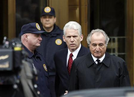 Accused swindler Bernard Madoff exits the Manhattan federal courthouse